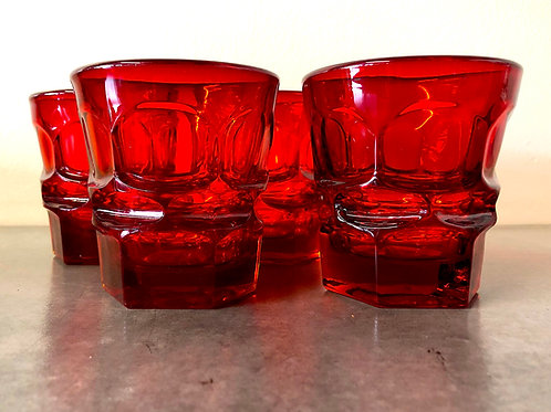 SOLD: Fostoria Argus Ruby Old Fashioned Tumbler - Set of Four