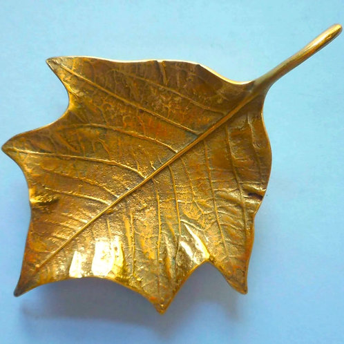 SOLD: Brass Poinsettia Leaf Dish - Hand Cast