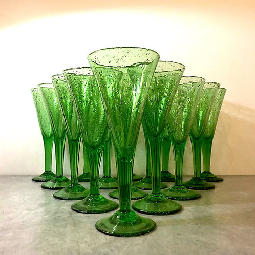 "La Verrerie De Biot 9.5"" Green Goblets - Set of 14"