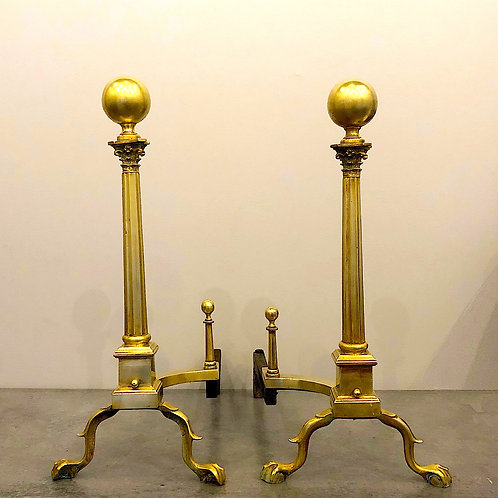 SOLD: 19th Century Philadelphia Neoclassical Brass Andirons
