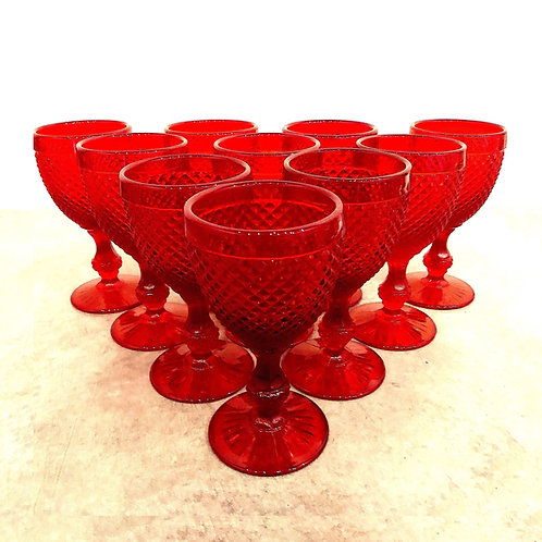 SOLD: Vintage Vista Alegre Tall Red Goblets - Set of 10