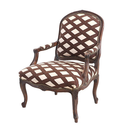 SOLD: Louis XV Carved Beech Fauteuil with Graphic Upholstery