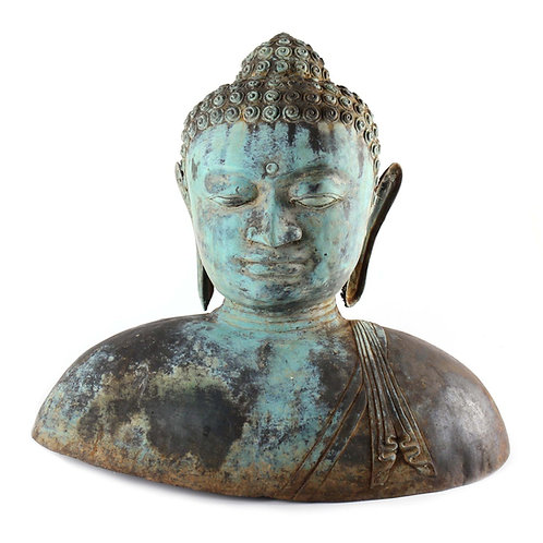 "SOLD: Monumental Antique Asian Bronze Buddha Bust - 18"" H"