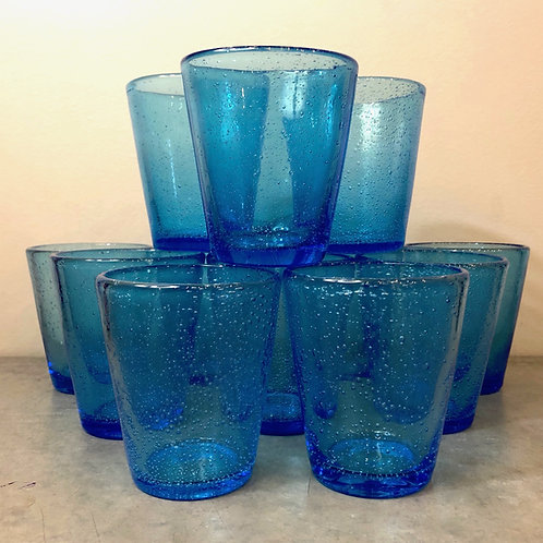 SOLD: Turquoise Blown Glass Tumblers - Dozen