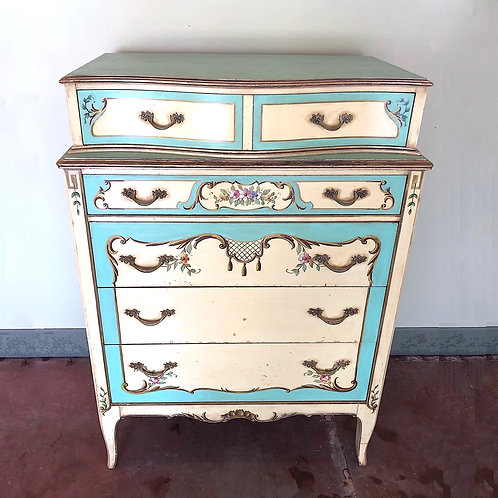 SOLD: 1920s Venetian Painted Tall Chest Of Drawers