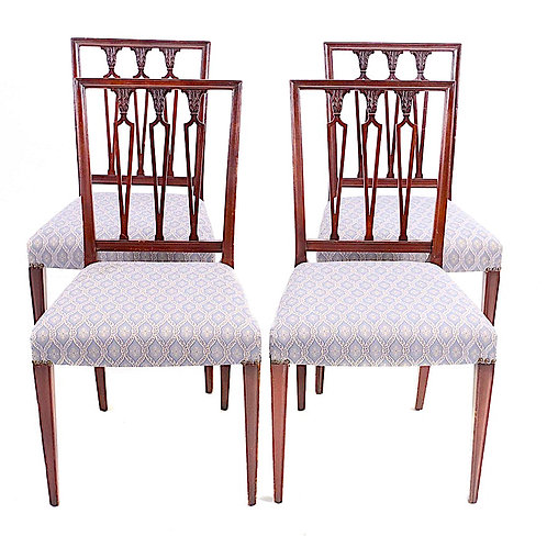 SOLD: Hepplewhite Neoclassical Mahogany Chairs - Set of Four