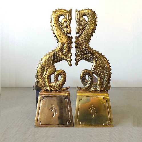 SOLD: Mid-Century Chinoiserie Dragon Andirons - a Pair