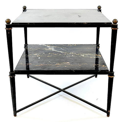 SOLD: Mid-Century Two Tier Marble and Metal Side Table