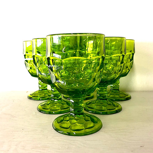 SOLD: Mid-Century Viking Georgian Bright Green Goblets - Set of Six Plus Bonus