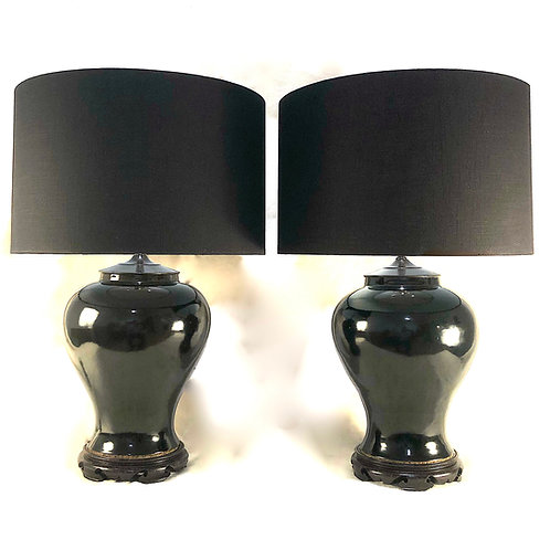 Chinese Black Mirror Glaze Ginger Jar Lamps - a Pair