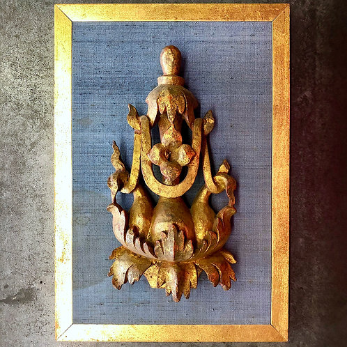 Antique Burmese Temple Carving - Custom Mounted
