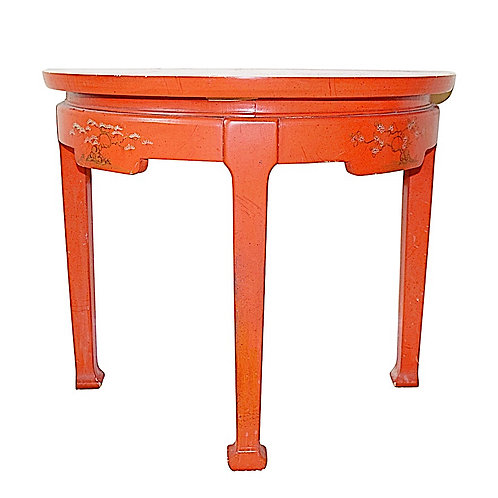 SOLD: Persimmon Chinoiserie Demilune Side Table