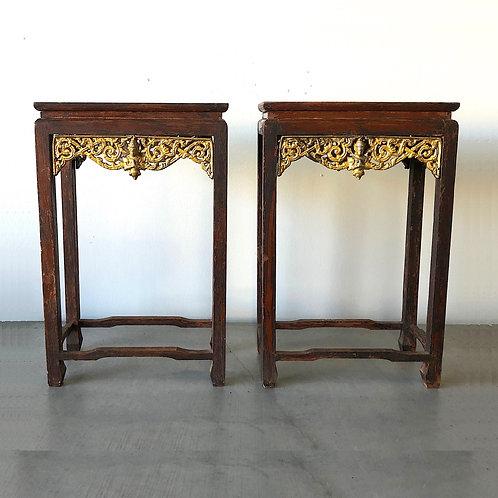 Antique Asian Buddhist Temple Altar Tables - Pair