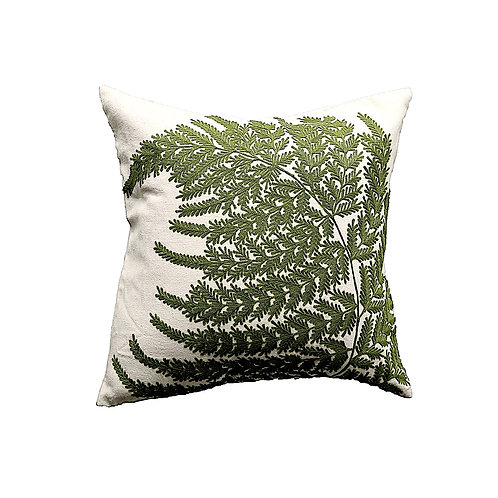 """SOLD: Embroidered Fern Fronds Pillow - 20"""" x 20"""""""