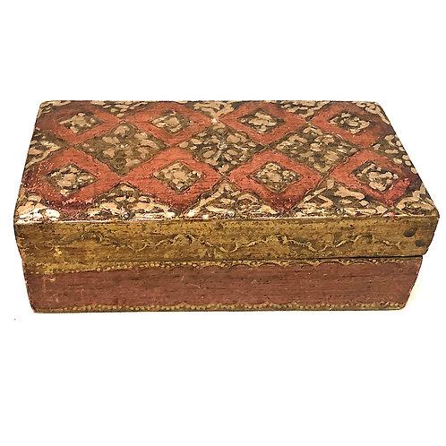Vintage Florentine Orange and Incised Gilt-Wood Box