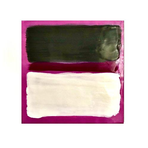 "Rothko Inspired Magenta Pink Encaustic Abstract - 12"" X 12"""