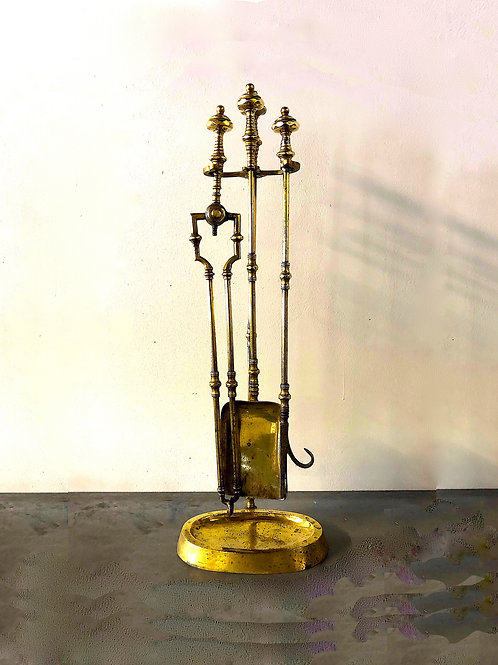 SOLD: English Solid Brass Fireplace - Set of 4