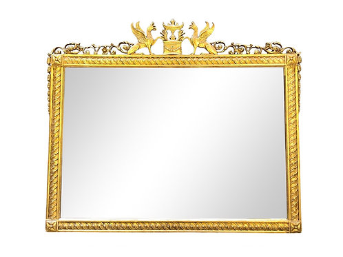 Neoclassical Regency Gilt Griffin Over Mantle Mirror by Friedman Brothers