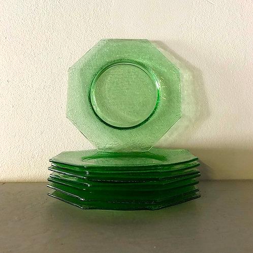 Vintage 1930s Green Octagonal Depression Crackle Glass Plates - Set of 8