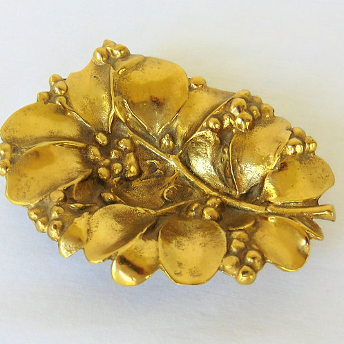 Brass Mistletoe Leaf Dish - Hand Cast