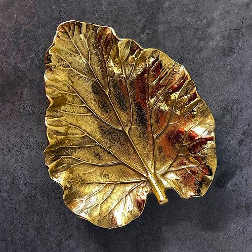 SOLD: Brass Rhubarb Leaf Dish - Hand Cast