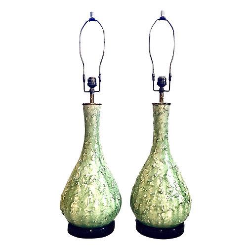 Mid-Century Celadon Crackle Glaze Lamps - Pair