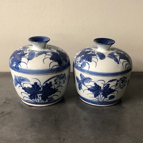 SOLD: Chinese Blue/White Covered Bowls - Pair