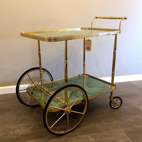 SOLD: Mid-Century French Brass & Faux Malachite Bar Cart