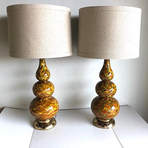 SOLD: Drip Glaze Triple Gourd Lamp Pair