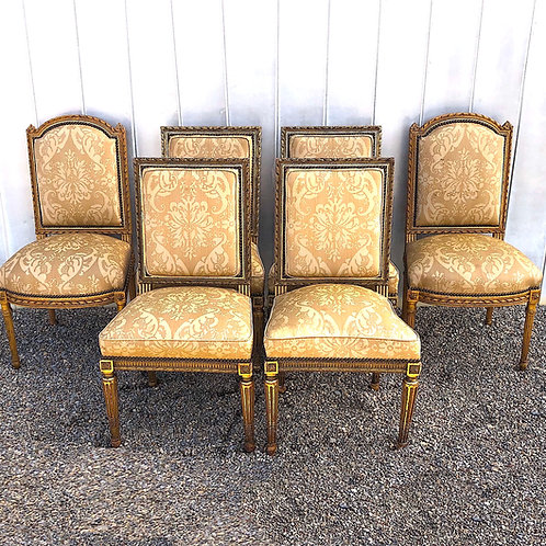 "Louis XVI Dining Chairs Hand Carved Silk Upholstery - ""Set"" of Six"