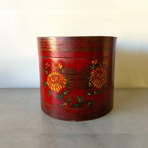 Antique Chinese Red Lacquer Double Happiness Box