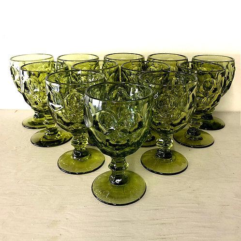 Mid-Century Moss Green Provincial Goblets - Dozen