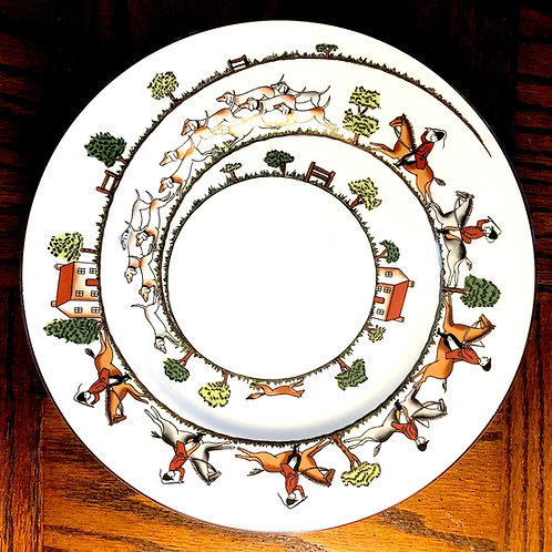 SOLD: Crown Staffordshire Hunt Scene Dinner Plates - Baker's DOZEN