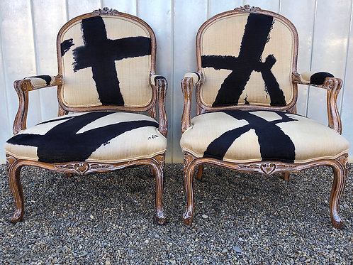 SOLD: Louis XV Fauteuil Armchairs Inspired by Franz Kline - Vintage Pair