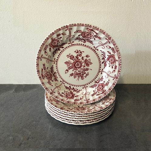 SOLD: 1970s Johnson Brothers Indies Red Transferware Salad Plates - Set of 7