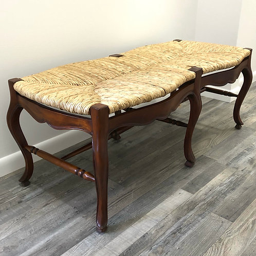 French Country Provincial Bench - Rush Seat