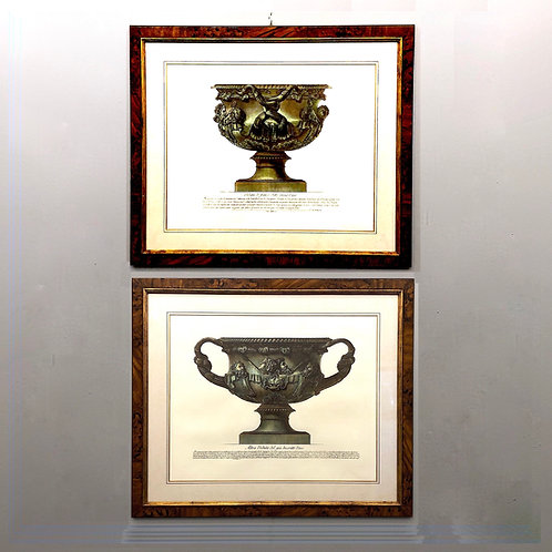 Piranesi Hand Colored Prints of the Warwick Vase Circa 1770 - Pair