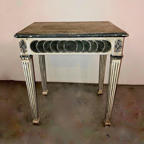 SOLD: Neoclassical Painted Side Table With Hidden Drawer