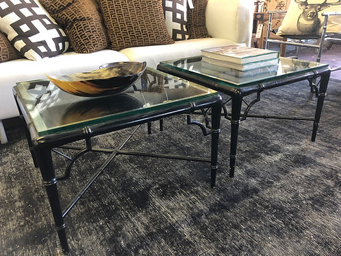 SOLD: Faux Bamboo Cocktail Tables - Billy Haines -PAIR