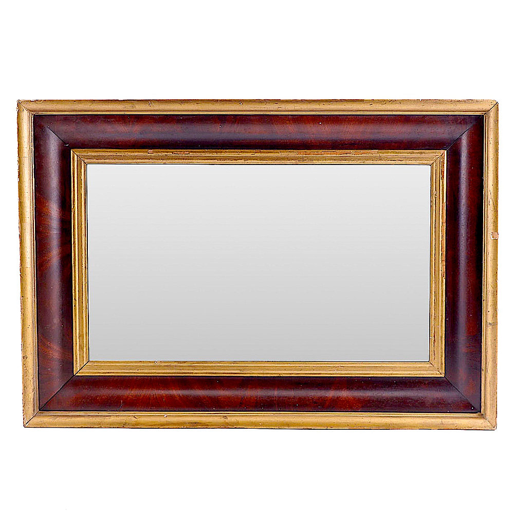 19th Century Empire Mahogany And Parcel Gilt Wall Mirror