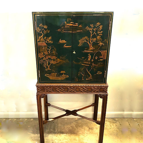 SOLD: Maitland Smith Chinoiserie Lacquer Bar Cabinet on Stand