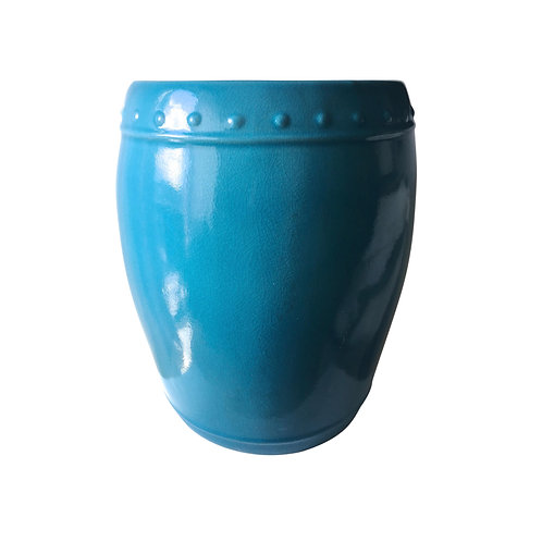 SOLD: Large Vintage Turquoise Porcelain Garden Stool