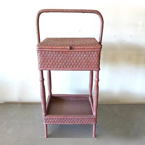 SOLD: Heywood-Wakefield 1920s Wicker Sewing Basket in Berry Pink