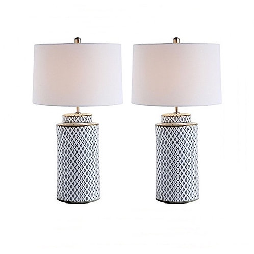 SOLD: Indigo Net Porcelain Canister Lamps - Pair