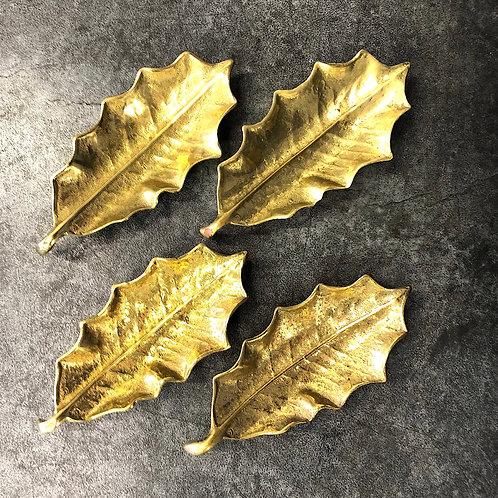 Brass Holly Leaf Dish Quartet Circa 1948 - Hand Cast
