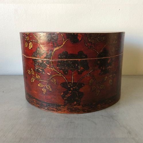 Antique Chinese Red Lacquer Hat Box - Vines & Birds