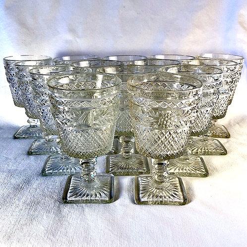 1920s Imperial Glass Co. Goblets - Leaf Pattern - Set of 14