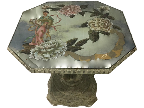SALE: Pair Chinoiserie Eglomise Accent Tables a la Maison Jansen