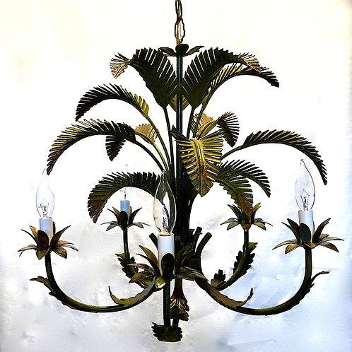SOLD: Italian Tole Palm Chandelier