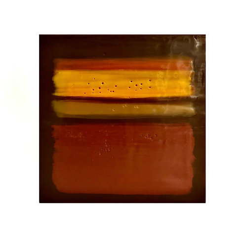 "Homage to Rothko - Yellow Orange Abstract Encaustic Painting - 12"" X 12"""